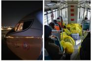 Traslado en buses en Wuhan por coronavirus