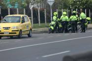 Varios policías hicieron retenes en algunas zonas del departamento