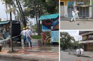 Ibagué Limpia está desinfectando los parques, plazas y calles del centro de la ciudad