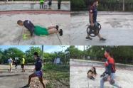 Luchadores huilenses entrenan al aire libre