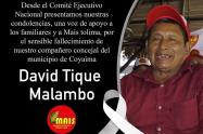 Al Concejal David Tique Malambo le hicieron dos pruebas Covid-19, saliendo la primera positiva y la segunda negativa