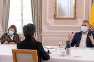 Presidente Duque en reunión con Claudia López.