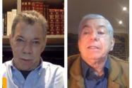 Juan Manuel Santos y César Gaviria en foro sobre la guerra contra las drogas.