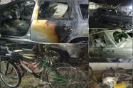 Se incendiaron tres vehículos, una moto de la Policía y varias bicicletas en Fortezza 2