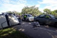 Cuatro lesionados dejó accidente múltiple sobre la vía Espinal – Guamo