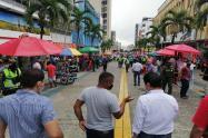 Carrera tercera con presencia de la policía metropolitana de Ibagué