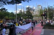Protesta de comerciantes en el Centro de Medellín.