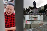 ¡Rechazo! Feministas cogieron a 'pata' la catedral y rayaron monumentos en Ibagué