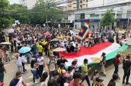 Agentes de paz acompañaron la protesta social de este 28 de abril en Neiva