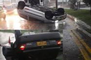 Dos vehículos quedaron 'Llantas arriba' en medio de las lluvias