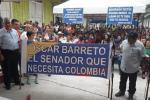 """Se escucharon voces y observaron pendones que decían, """"Óscar Barreto el Senador que necesita Colombia"""""""